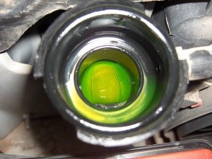 This is what clean coolant looks like. Coolant is a 50-50 mixture of antifreeze and water.