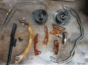 Neglecting an oil leak destroyed this timing chain, more than doubling the cost of the original repair.